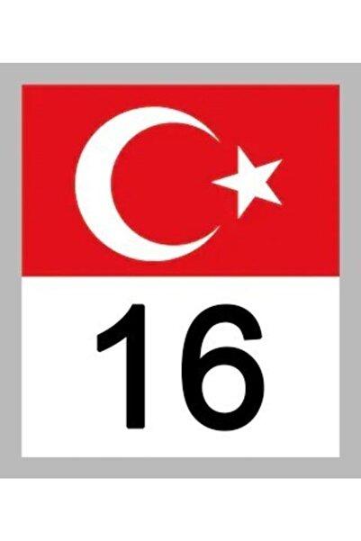 Apex 16 Bursa Türk Bayrağı Ve Plaka Kodu Ön Cam Sticker Yapıştırma