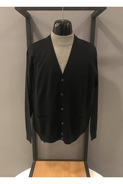 Sedef Erkek Siyah Düğmeli Cepli Regular Kalıp Triko Ceket