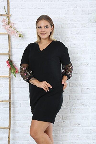 EGZ BUTİK Kadın Büyük Beden Siyah Kolları Nakışlı Elbise