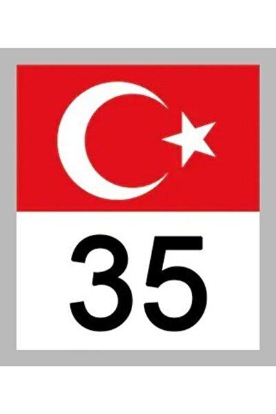 Apex 35 Izmir Türk Bayrağı Ve Plaka Kodu Ön Cam Sticker Yapıştırma