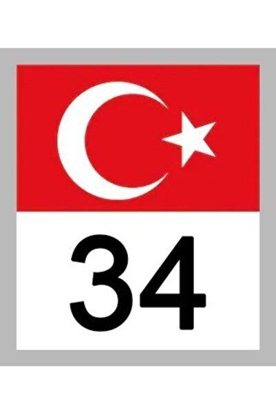 Apex 34 Istanbul Türk Bayrağı Ve Plaka Kodu Ön Cam Sticker Yapıştırma