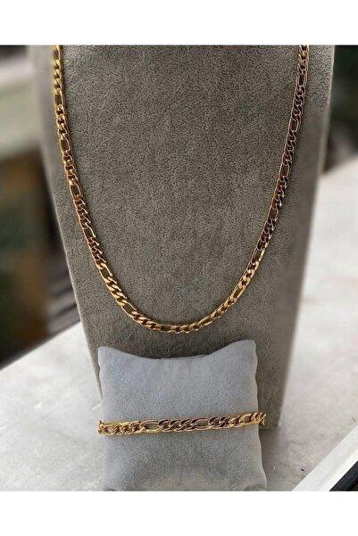 Chance Accessories Unisex Gold Kolye ve Bileklik Zincir Set