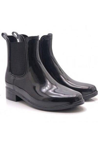 Akınal Bella Kadın Siyah Su Çekmez Kısa Yağmur Botu