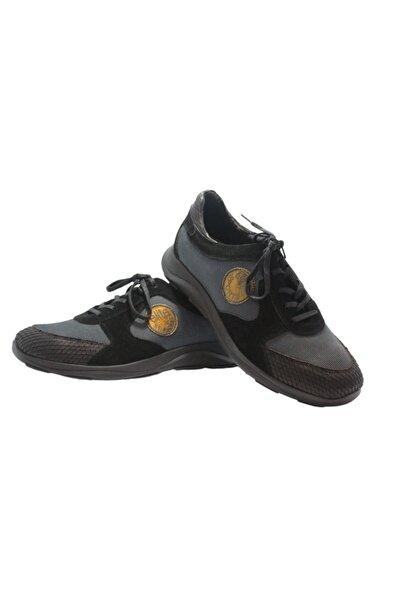 Elite Erkek Siyah Bağcıklı Pullu Süet Baskılı Hakiki Deri Ayakkabı