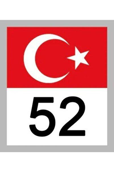 Apex 52 Ordu Türk Bayrağı Ve Plaka Kodu Ön Cam Sticker Yapıştırma