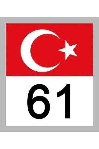 Apex 61 Trabzon Türk Bayrağı Ve Plaka Kodu Ön Cam Sticker Yapıştırma