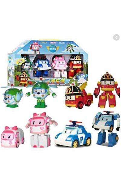 Kids Poli Robocar Dönüşebilen Robot Transformers Oyuncak 4 Adet Set