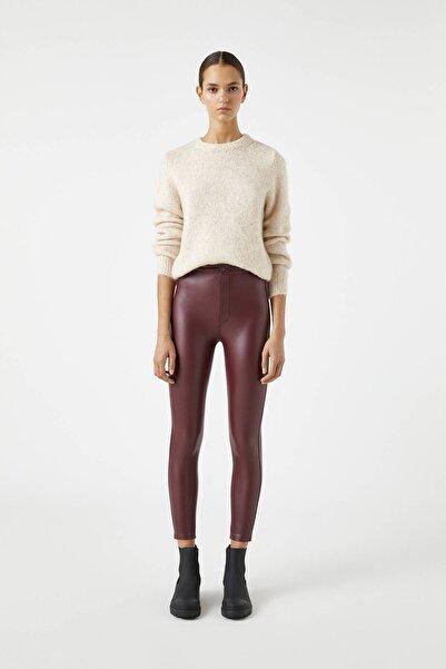 Pull & Bear Kadın Burgonya Şarabı Suni Deri Skinny Fit Pantolon 09672304