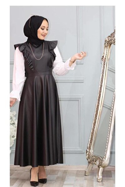 Nacar Kadın Siyah Deri Jile Elbise