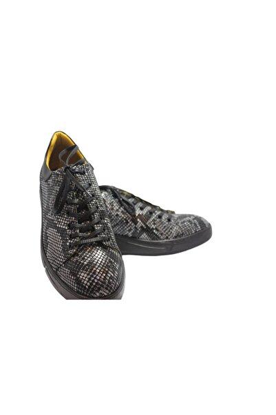 Elite Erkek Siyah Yılan Derisi Görünümlü Bağcıklı Ayakkabı