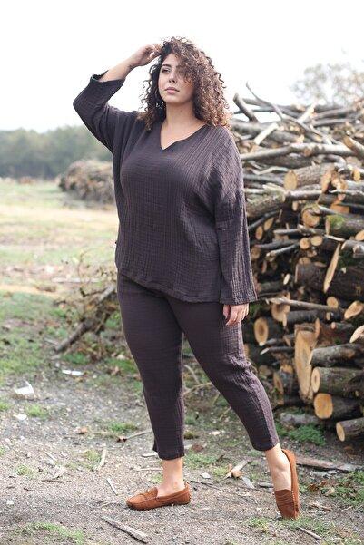 Curly Kadın Kahverengi V Yaka Bluz