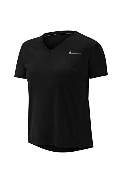 Nike Kadın Siyah Wmns Mıler Top V Neck Tişört At6756-010
