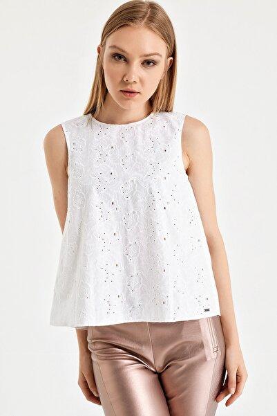 Armani Exchange Kadın Beyaz Top Bluz