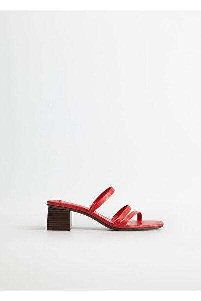 Violeta by MANGO Kadın Kırmızı Deri Bantlı Sandalet 67006310