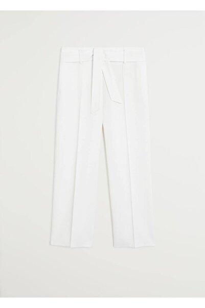 MANGO Woman Kadın Ekrü Kısa Paçalı Kemerli Pantolon  67056720
