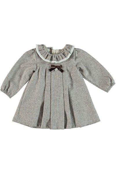 Monna Rosa Kız Bebek Gri Kareli Elbiseli Takım