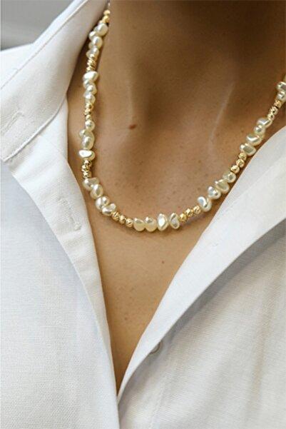 Marjin Kadın İnci Boncuklu Altın Renkli Kolye