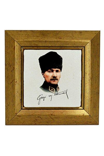 L&Gift Mustafa Kemal Atatürk Çerçeveli 10 * 10 cm Doğal Taş Baskılı Resim