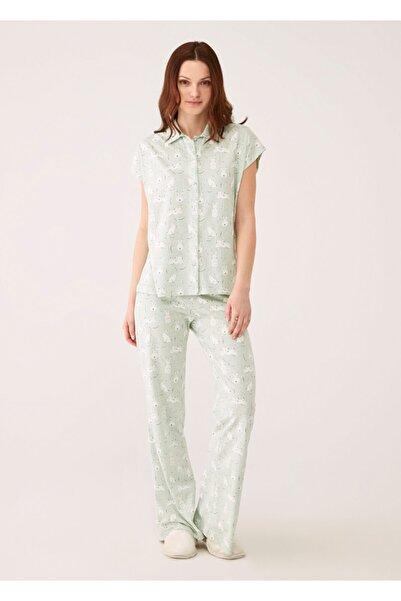 Dagi Kadın Yeşil Melanj Tavşan Baskılı Modal Empirme Kumaş Gömlek  Kısa Kol Pijama Takımı
