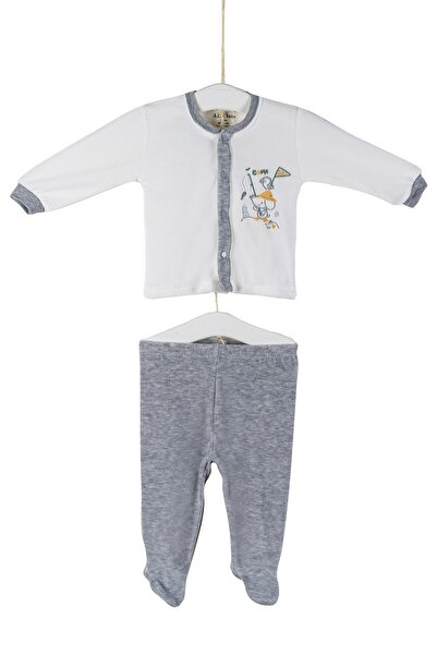 Aziz Bebe Erkek Bebek Patikli Pijama Takımı 0-6 Ay Azz002946