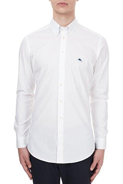 ETRO Pamuklu Düğmeli Yaka Slim Fit Gömlek Erkek Gömlek 1k964 3400 0990