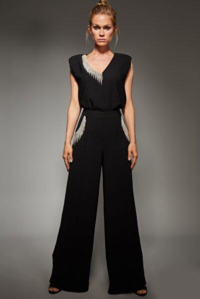 adL Kadın Siyah Kristal Taşlı Bol Pantolon 15339353000