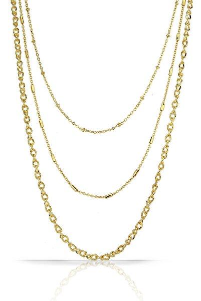 Duke Nickle 3lü Altın Zincir Kolye Rdkl2155
