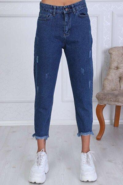 Modaca Kadın Mavi Mom Style Paça Püskül Lazer Detay Jean