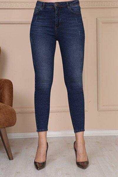 Modaca Kadın Koyu Mavi Ön Tırnak Detay Jean