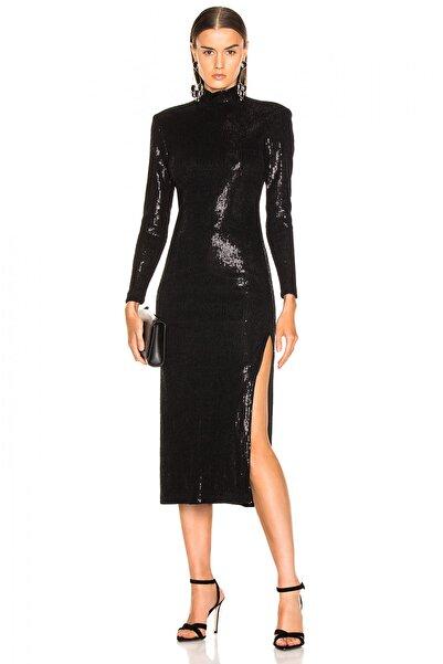 By Umut Design Kadın Siyah Çift Yırtmaçlı Payet Elbise 4525364