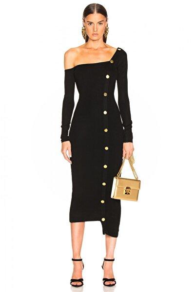 By Umut Design Kadın Siyah Düğme Detaylı Tek Omuz Elbise 4500616