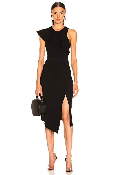 By Umut Design Kadın Siyah Asimetrik Kesim Yırtmaçlı Volanlı Elbise 4566435