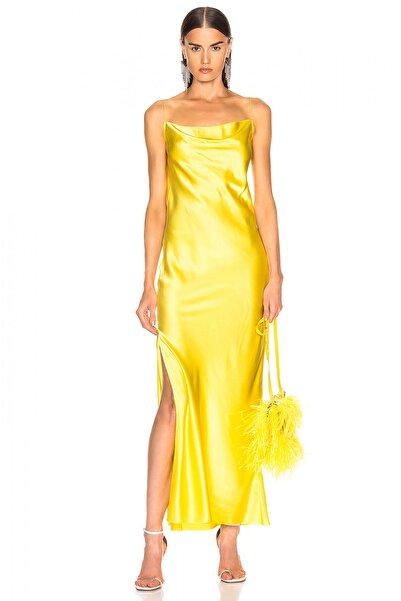By Umut Design Kadın Sarı Degaje Yaka Spagetti Askılı Yandan Yırtmaçlı İpek Saten Elbise 4574267