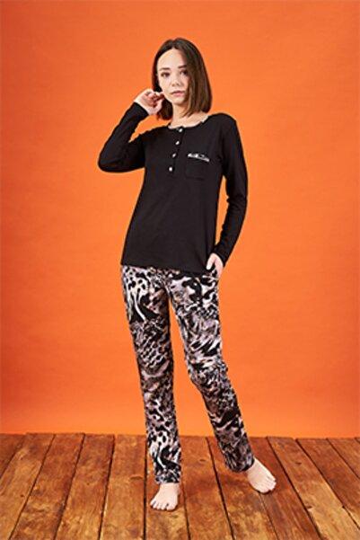 PJS Kadın Siyah Desenli Uzun Kollu Pijama Takımı