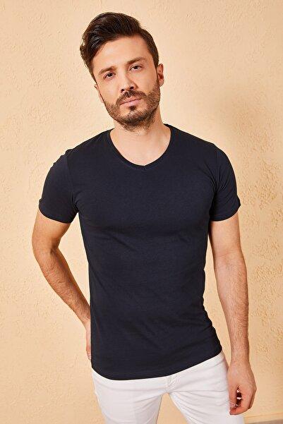 Zafoni V Yaka Bay Lacivert T-shirt