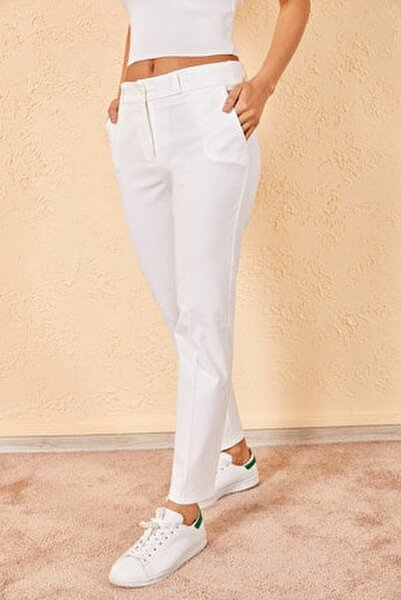 Kadın Beyaz Kalem Pantolon