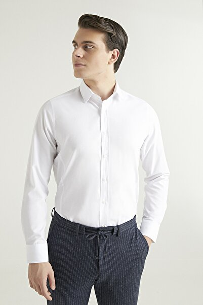 D'S Damat Slim Fit Erkek Beyaz Gömlek