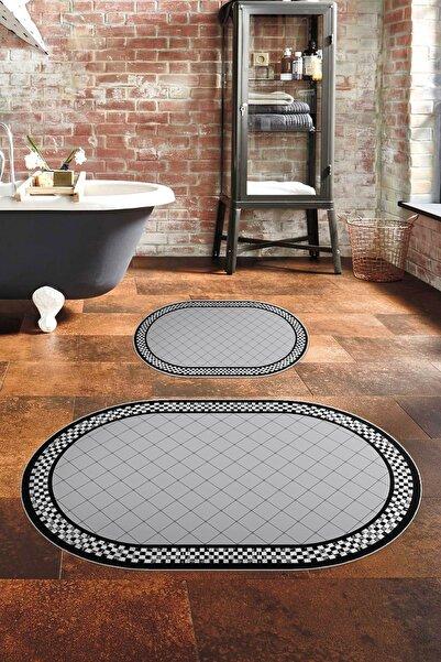 colizon 60x90 - 50x60 Ekose Grey Dijital Banyo Halısı Klozet Takımı 2'li Paspas Seti