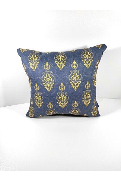 BENLİSSO Home Collection & Textile Altın Serisi Modern Saray Motifli Kraliyet Mavisi Kırlent Kılıfı 45x45