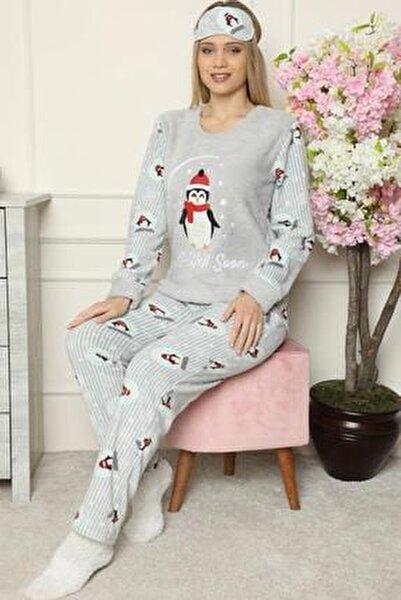 Gri Get Well Soon Desenli Kadın Peluş Pijama Takımı