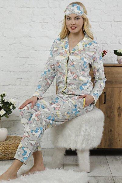 Pijamaevi Unicorn Desenli Önden Düğmeli Uzun Kollu Kadın Pijama Takımı
