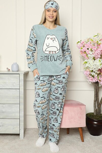 Pijamaevi Kadın Yeşil Big Cat Desenli Peluş Pijama Takımı