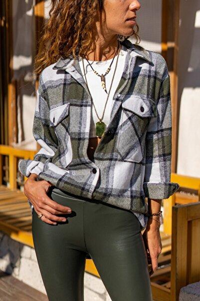 Güneşkızı Kadın Haki Oduncu Kalın Ceket Gömlek GK-AYN1799