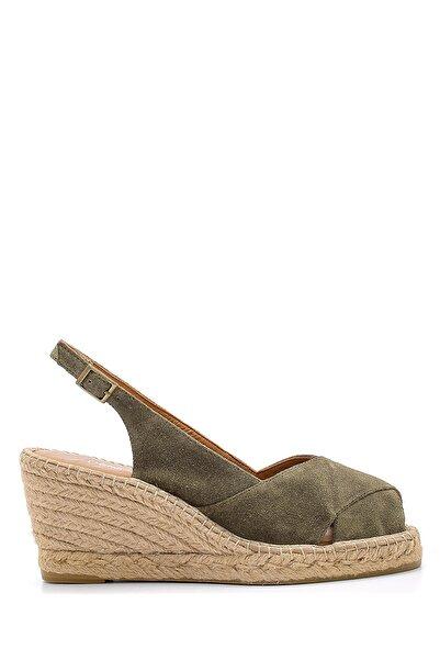 Derimod Kadın Haki Süet Dolgu Topuklu Ayakkabı