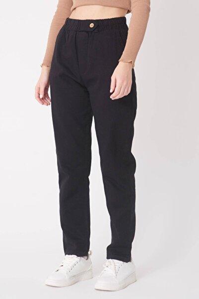 Addax Kadın Siyah Düğme Detaylı Pantolon PN4191 - PNB ADX-0000021486