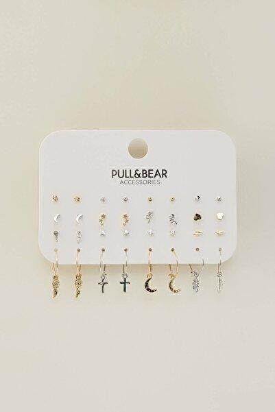 Pull & Bear Kadın Gümüş 16'Lı Altın Rengi Küpe Seti 04991304