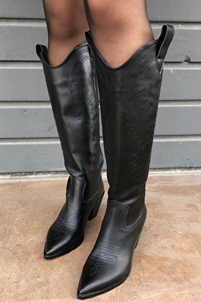 meyce Kadın Siyah Sivri Burun Işlemeli Uzun Kovboy Bot Çizme