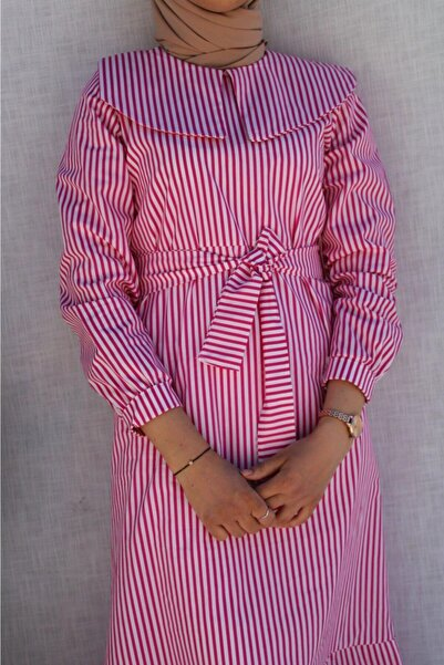 Hatiç Store Kadın Pembe Çizgili Poplin Kumaş Çalıkuşu Tesettür Elbise