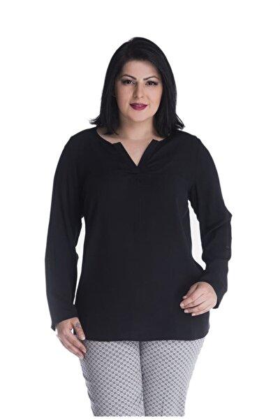 MYLİNE Kadın Siyah Uzun Kollu Viskon Bluz