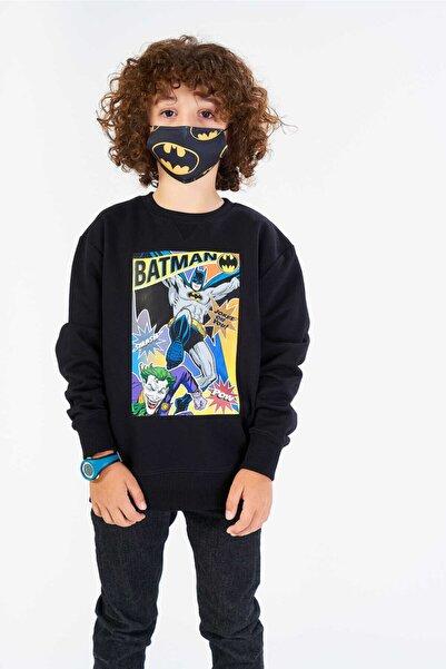 FINGER PRINT Erkek Çocuk Siyah Lisanslı Batman Baskılı Sweatshirt